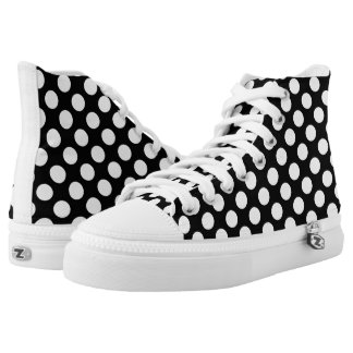 White Polka Dots Pattern on Black Printed Shoes