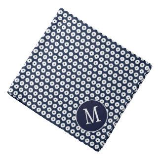 White Polka Dots Pattern On Navy Blue And Initial Bandana