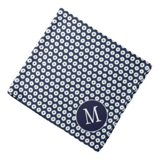 White Polka Dots Pattern On Navy Blue And Initial Kerchief