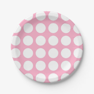 White Polka Dots Pink Paper Plate