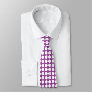 White Polka Dots Purple Tie