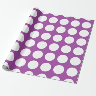 White Polka Dots Purple Wrapping Paper