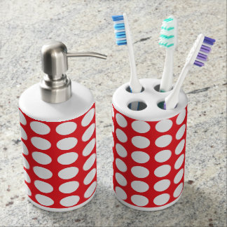 White Polka Dots Red Soap Dispenser And Toothbrush Holder