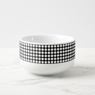 White Polka Dots Soup Bowl With Handle