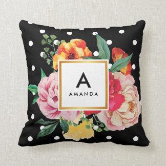 WHITE polka dots Watercolor Peony Flowers Monogram Cushion