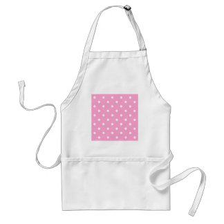White Polka Dots with Pink Background Aprons