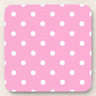 White Polka Dots with Pink Background Beverage Coasters