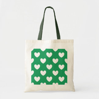 White polka hearts on Kelly green Tote Bag