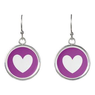 White polka hearts on Purple Cactus Flower purple Earrings