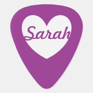 White polka hearts on Purple Cactus Flower purple Guitar Pick
