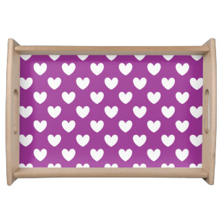 White polka hearts on purple serving tray