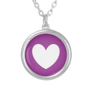 White polka hearts on purple silver plated necklace