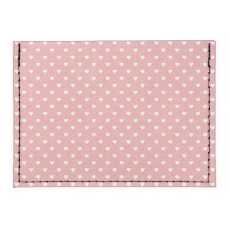 White Polkadot Hearts on Blush Pink Tyvek® Card Wallet