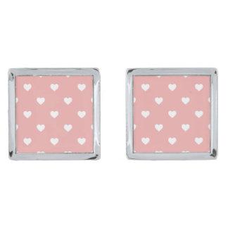 White Polkadot Hearts on Blush Pink Silver Finish Cufflinks