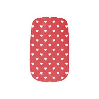 White Polkadot Hearts On Lipstick Red Nail Wraps