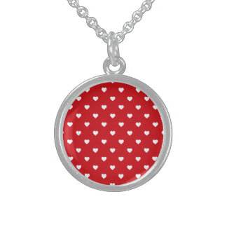 White Polkadot Hearts On Lipstick Red Sterling Silver Necklaces