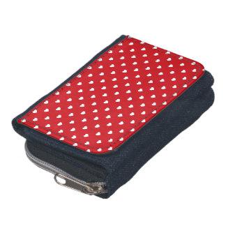 White Polkadot Hearts On Lipstick Red Wallet