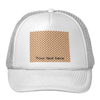 White polkadots on brown hats