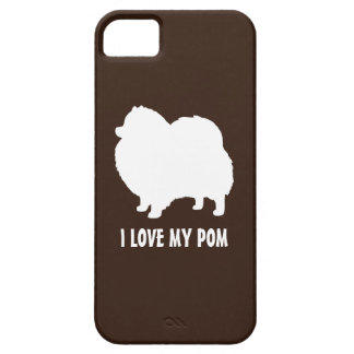White Pomeranian Silhouette - I Love My Pom iPhone 5 Cover