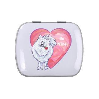 White Pomeranian Valentine's Day Jelly Belly Tins