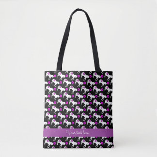White Ponies and Purple Flowers Pattern Tote Bag