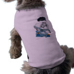 White Poodle Biker Chick in Colour Sleeveless Dog Shirt
