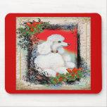 White Poodle Christmas Vintage Style Mousepad