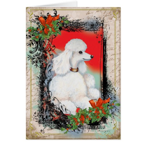 White Poodle Christmas Vintage Style Print Card