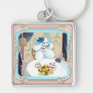 White Poodle Cupcake Tea Party Silver-Colored Square Key Ring