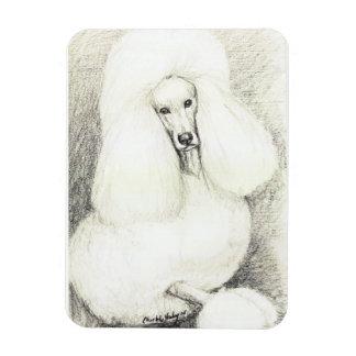 White Poodle Dog Art Magnet