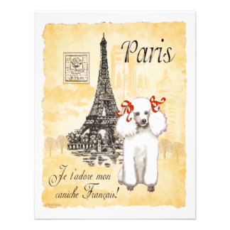 White Poodle Eiffel Tower Vintage Style Print Custom Invitation