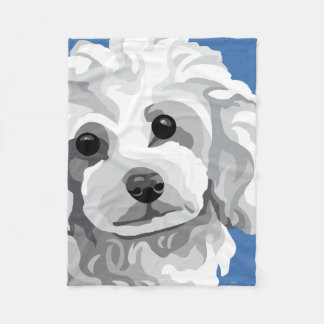 White Poodle Gifts Fleece Blanket