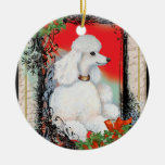 White Poodle & Holly Christmas Double-Sided Ceramic Round Christmas Ornament