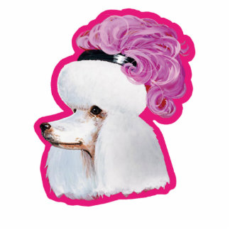 White Poodle in a Feather Hat Ornament Tag Standing Photo Sculpture