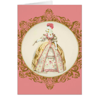 White Poodle Marie Antoinette Greeting Card