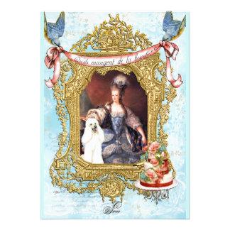 White Poodle Marie Antoinette Invitation