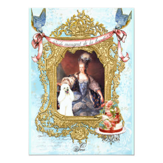 White Poodle & Marie Antoinette Invitation