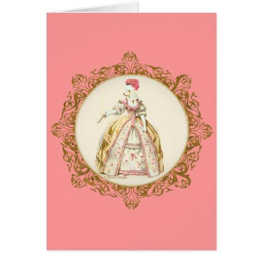 White Poodle Marie Antoinette Ornate Art Cards