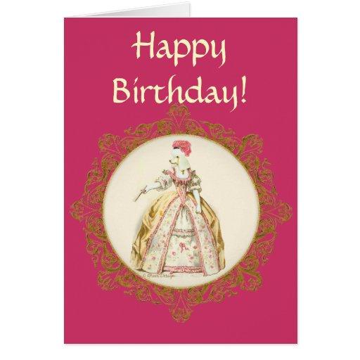 White Poodle Marie Antoinette Ornate Art Card