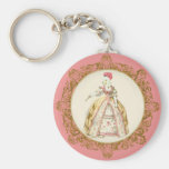 White Poodle Marie Antoinette Ornate Art Basic Round Button Key Ring