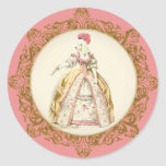 White Poodle Marie Antoinette Ornate Art Stickers