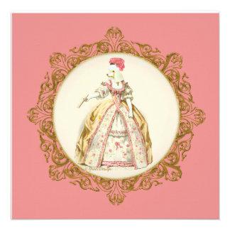 White Poodle Marie Antoinette Style Invitation