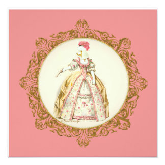 White Poodle Marie Antoinette Style Invitation