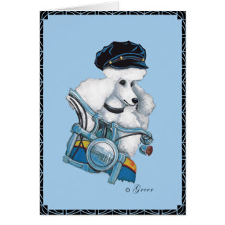 White Poodle on a Harley Motorcycle Greeting Card