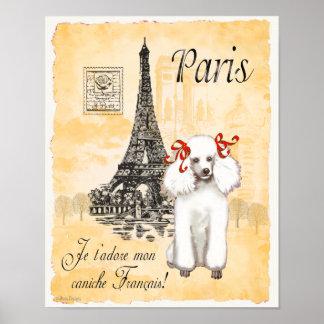 White Poodle Paris Eiffel Tower Vintage Print