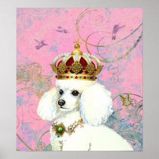 White Poodle Princess Hummingbird Poster Print
