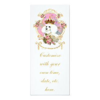 White Poodle Princess n Pink Roses 10 Cm X 24 Cm Invitation Card