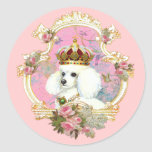 White Poodle Princess n Pink Roses Round Stickers