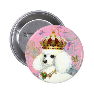 White Poodle Princess with Hummingbirds 6 Cm Round Badge