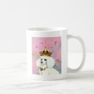 White Poodle Princess with Hummingbirds Coffee Mug